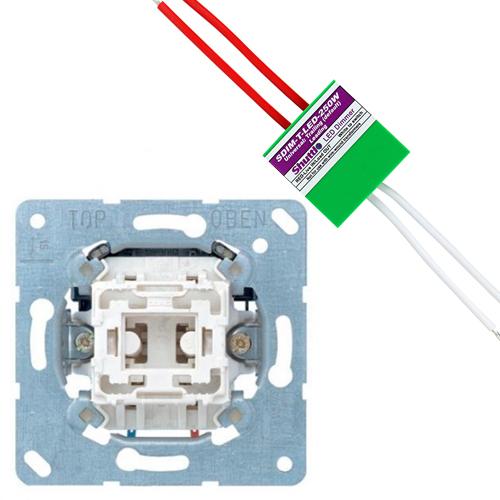 JUNG set impulsdrukker + shuttle dimmer LED/halogeen 250W (2700317240-250W)