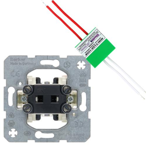 Hager Berker set impulsdrukker + shuttle dimmer LED/halogeen 125W (2700497914-125W)