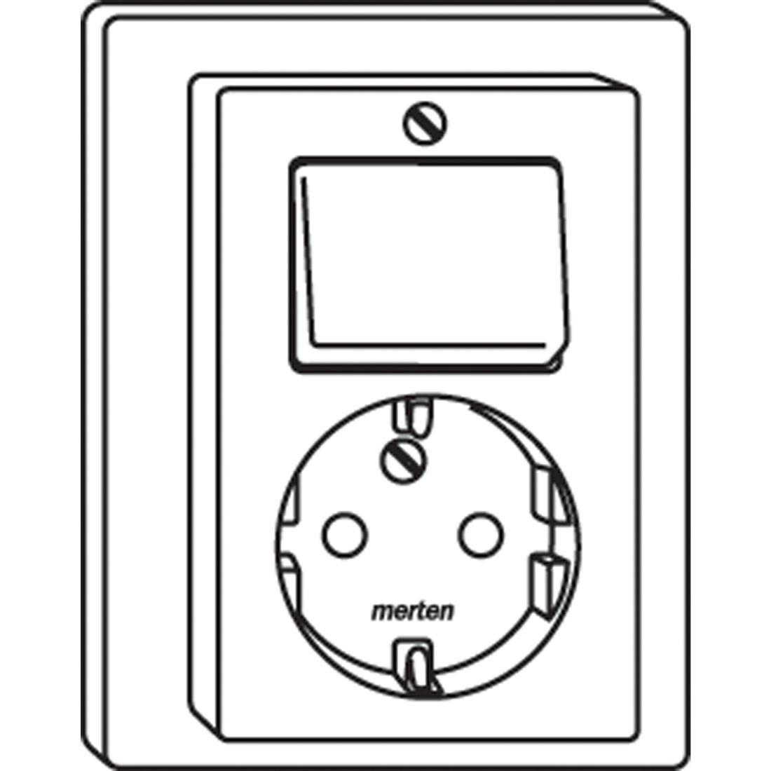 Schneider-Merten M-Smart combinatie SCHUKO wandcontactdoos/wisselschakelaar - polarwit glanzend (MTN278319)