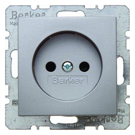 Berker wandcontactdoos zonder randaarde - S.1 aluminium (6167331404)