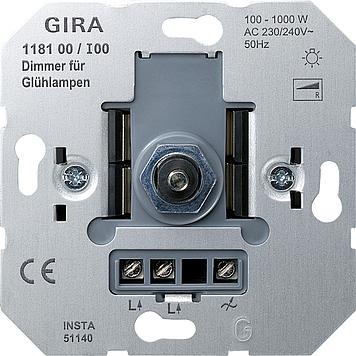 Gira 118100 gloeilampendimmer met druk-wisselschakelaar 100-1000W