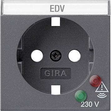 Gira afdekking stopcontact met randaarde en overspanningsbeveiliging - systeem 55 antraciet (144128)