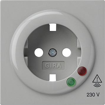 Gira S-color afdekking voor wandcontactdoos met randaarde en overspanningsbeveiliging grijs
