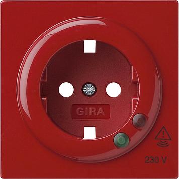 Gira S-color afdekking voor wandcontactdoos met randaarde en overspanningsbeveiliging rood