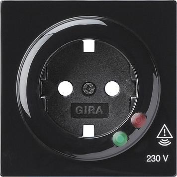 Gira S-color afdekking voor wandcontactdoos met randaarde en overspanningsbeveiliging zwart