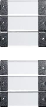 Gira Wippenset 6-v (3+3) met tekstkader - systeem 55 clear/antraciet (213628)