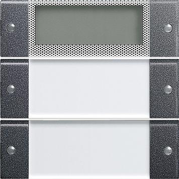 Gira Wippenset 2-voudig Plus met tekstkader - systeem 55 clear/antraciet (214228)