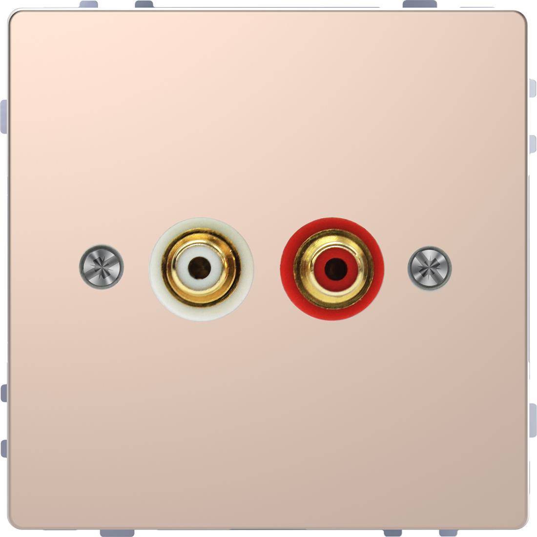 Schneider-Merten D Life centraalplaat voor audio cinch - champagne metallic (MTN4350-6051)