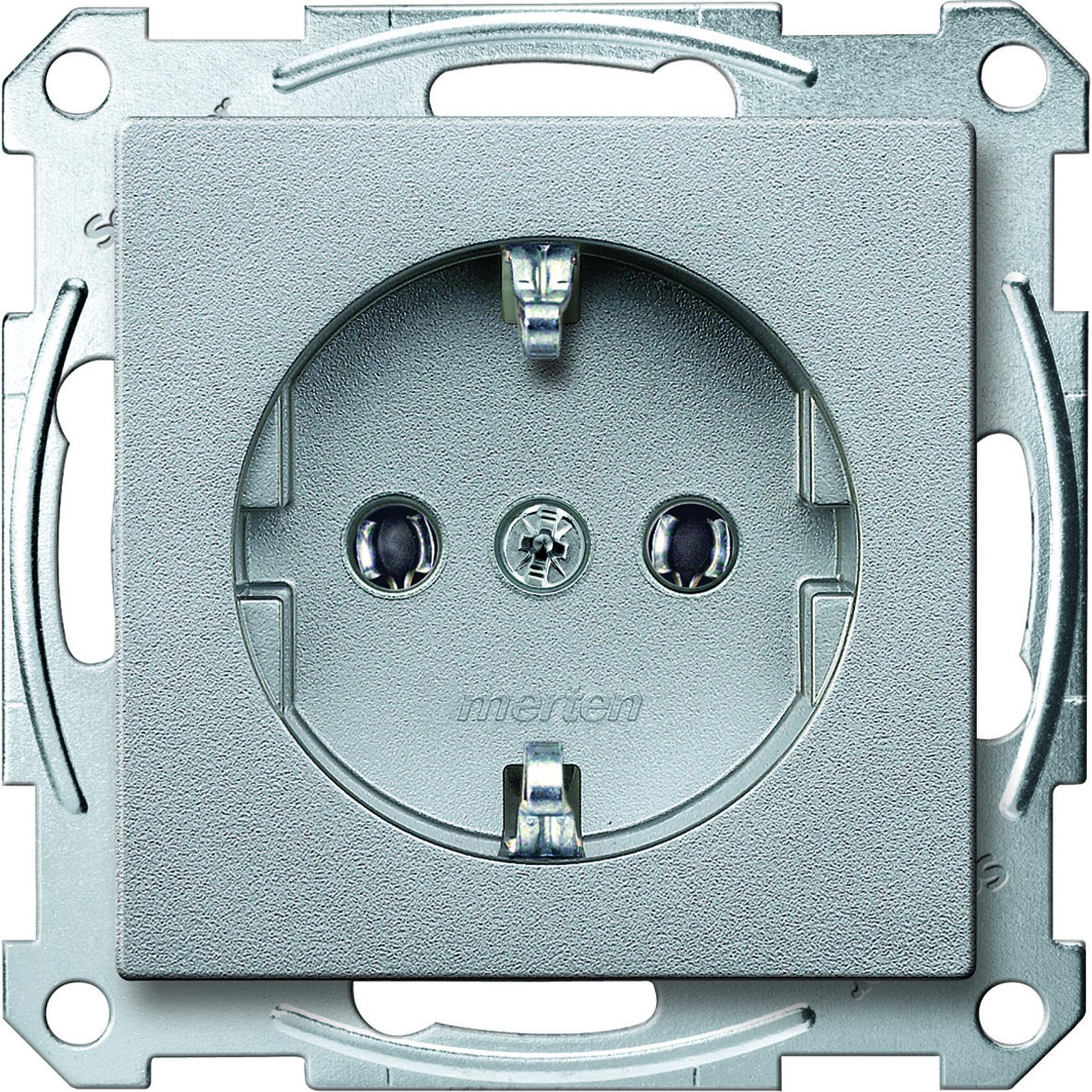 Schneider-Merten systeem M SCHUKO wandcontactdoos met steekklemmen - aluminium (MTN2301-0460)