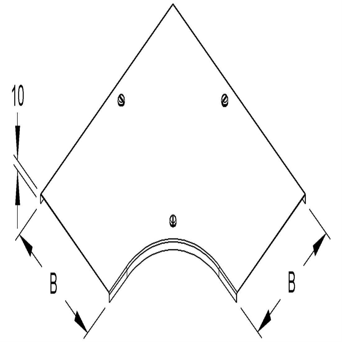 Niedax Kleinhuis kabelgoot deksel voor bocht 90 graden inclusief draaisluiting voor 400 mm breed RESDV400