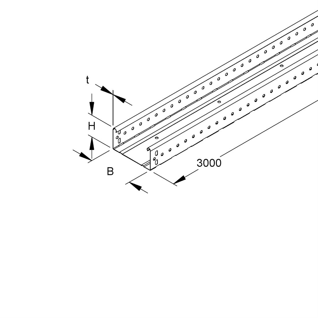 Niedax Kleinhuis kabelgoot gesloten 60x400 mm (HxB) 3 meter + koppelstuk RLUC60.400