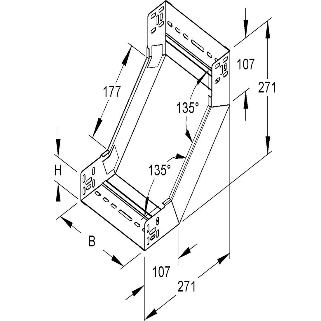 Niedax Kleinhuis kabelgoot stijgstuk zonder deksel voor 600 mm breed RSD60.600