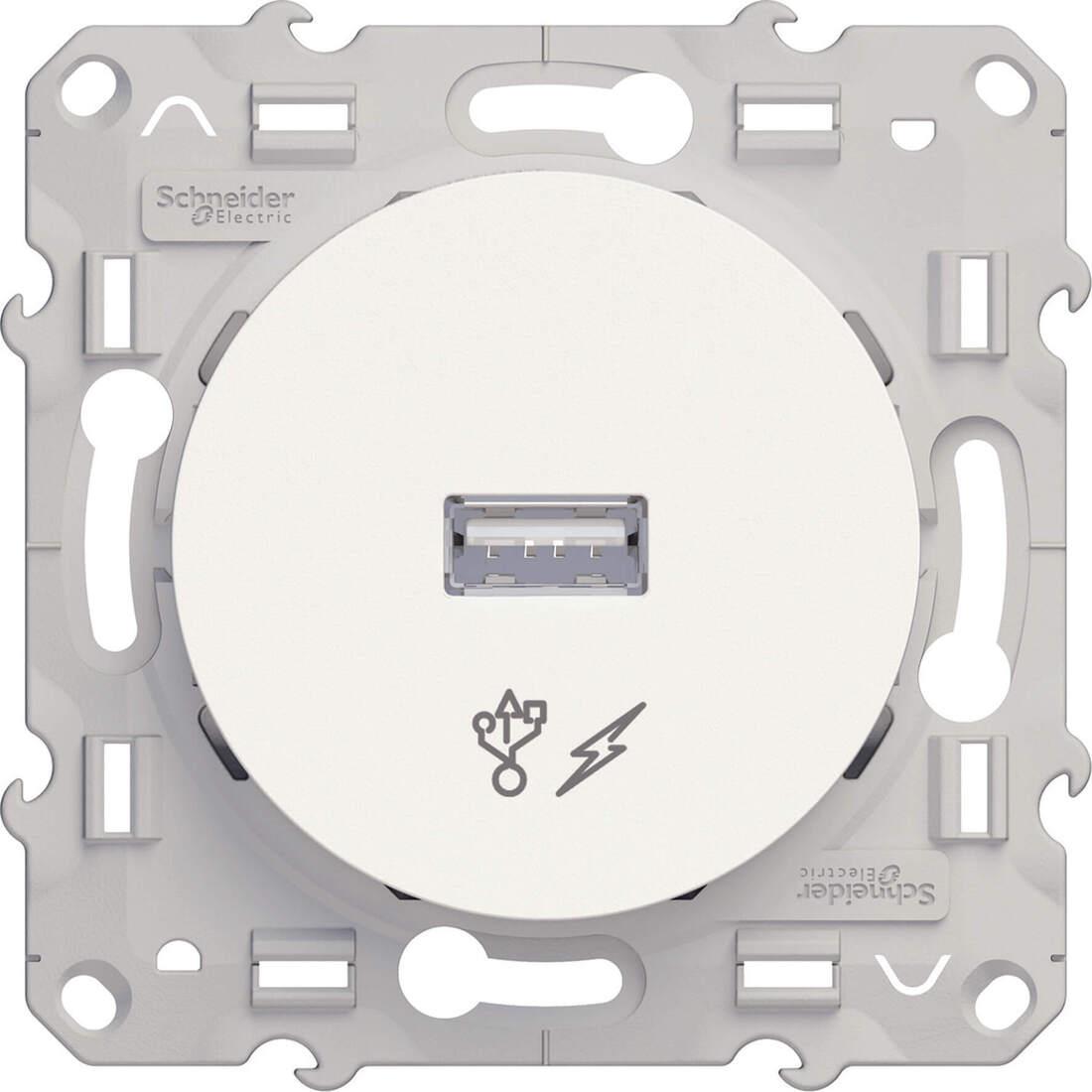 Schneider Electric Odace USB lader - wit (S520408)